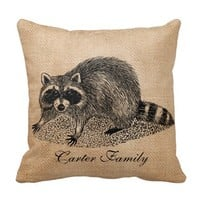 Raccoon Burlap Personalized
