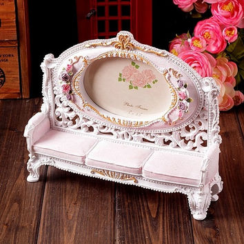 Retro Vintage Sofa Chair Pink Flower Home Decoration Photo Frame Picture Frame Resin 3.5'' x 5''