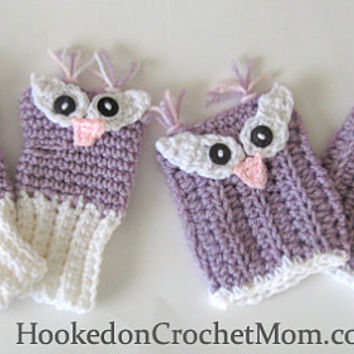 Owl Fingerless Gloves and Boot Cuffs Set Pink or Purple and White Crochet Handmade - Kids Child Girls Custom Sizes Available