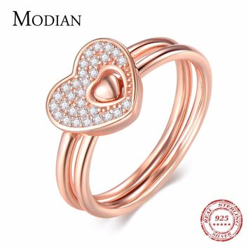 Modian 2018 New Authentic 925 Sterling Silver Hearts Ring Rose Gold Color Fashion Finger Stackable Wedding Engagement Jewelry