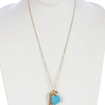 Turquoise Chain Tassel Natural Stone Pendant Necklace