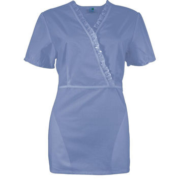 Light Blue Ruffle Collar Women's Scrub Top
