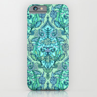 Botanical Moroccan Doodle Pattern in Mint Green, Lilac & Aqua iPhone & iPod Case by Micklyn