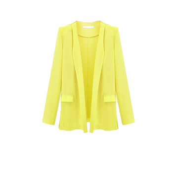 Yellow Open Front Long Sleeves Flap Pocket Blazer