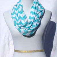 Tiffany blue chevron Infinity scarf, Tiffany blue Chevrons Zig Zag, jersey knit scarf, infinity scarf, bridesmaid gift