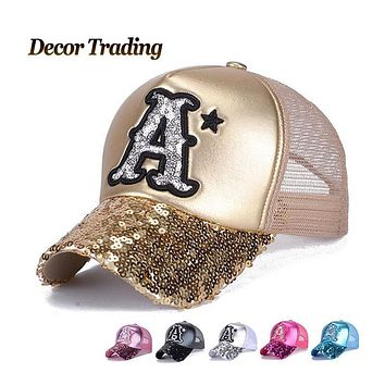 2016 New Summer Leather Baseball Caps for Women  Snapback Sequin Caps Leisure  Hat Fashion