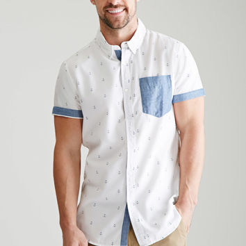 Solid Pocket Anchor Print Shirt