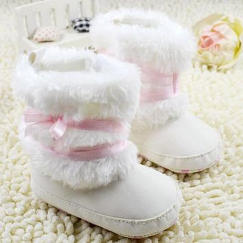 Newborn Baby Girls Bowknot Shoes Soft Crib Shoes Toddler Infant Warm Fleece First Walker baby girls shoes Winter QL