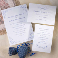 Simple white and blue wedding invite cards kit – blue damask details printable invitations EWI235