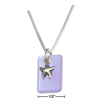 """Sterling Silver Necklace:  18"""" Shade Of Blue Sea Glass Starfish Pendant Necklace"""