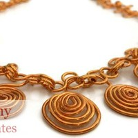 Wire Wrapped Spiral Choker Style Necklace | Cathy Creates - Handmade knit and crochet accessories and apparel