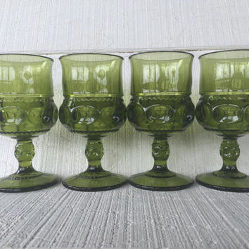 4 Green vintage Indiana Glass Kings Crown Thumbprint Water goblets, Mid century bar cart glasses, green wine glasses, wedding shower brunch