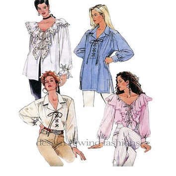 1990s BOHO Laced Front Poet's Pirates Romantic Blouse - Notched, Ruffled Collar, V-Neck McCalls 6618 Vintage Sewing Pattern Bust 42-44 UNCUT