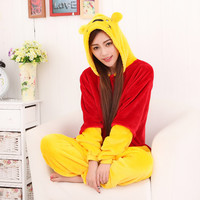 Cartoons Winnie Bear Sleepwear Lovely Couple Winter Casual Animal Set Halloween Costume [9220976132]