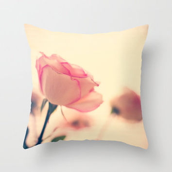 Soft as snow but warm inside (vintage pink roses Throw Pillow by Andrea Caroline