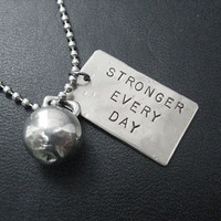 STRONGER EVERY DAY Kettle Bell Workout Necklace  by TheRunHome