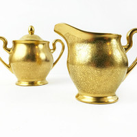 Pickard China Cream and Sugar Set / Matching Vintage Pitcher, Sugar Pot with Lid / Gilded Kitchen, Serving Decor / Gold Floral Pattern 532
