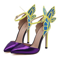 Dreamlike Butterfly Wings High Heel Pointed Sandals   purple  35