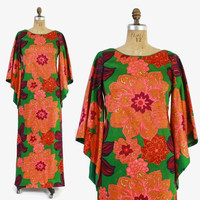 Vintage 70s SHAHEEN DRESS / 1970s Bright Tropical Floral Print Angel Sleeves Maxi Gown L