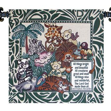 Italian Woven Tapestry Wall Hanging All Creatures Great and Small Italian