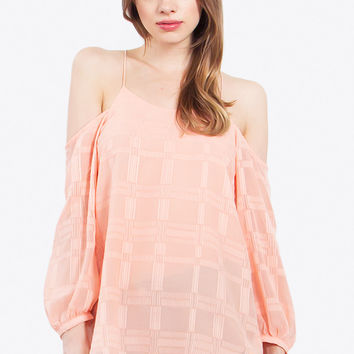 Peach Grid Top
