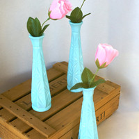 Tiffany Blue Painted Milk Glass Vases Set of Three
