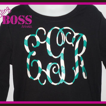 Monogram Chevron Bling Shirt Glitter Girls Initials Sparkle, Fancy Script colors Custom Design Color Birthday Personalized Glitter Ladies