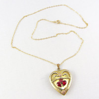 Art Deco Heart Locket Necklace Gold Filled Over Sterling Silver Vintage Red Stone Photo Locket Pendant 1940s Sweetheart Jewelry