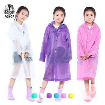 FGHGF EVA Transparent Fashion Frosted Child Raincoat Girl And Boy Rainwear Outdoor Hiking Travel Rain Gear Coat For Children