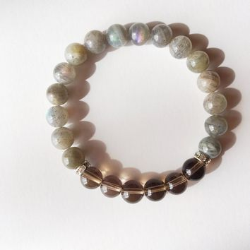 Healing Anxiety ~ Genuine Labradorite & Smokey Quartz Bracelet w/ Swarovski Crystal Spacers