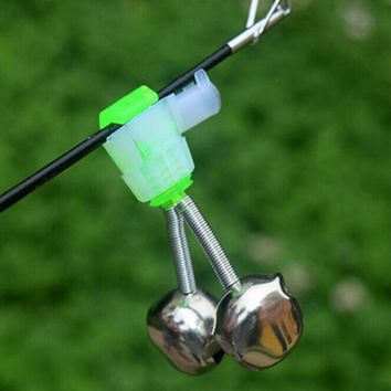 10pcs Rod Clamp Sea Fishing Tip Bite Lure Alarms Twin Bell Fishing Bite Outdoor Night Fishing Rod Tip Clips Ring Tackle