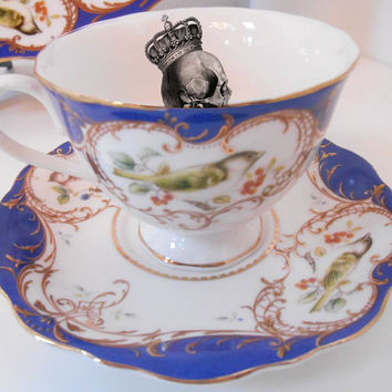 Blue and Gold Skull Cup and Saucer