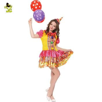 Womens Pretty Clown Costume Colorful and Funny For Adults Cosplay Party  Fancy Dress Outfits Parisian Costumes