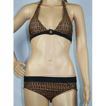 Fendi Fashion Halter Brassiere Underpant Set Two-Piece Bikini