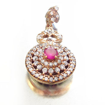 Genuine Ruby & White Sapphires Pave' Drop Pendant Lavalier GOLD Vermeil on Sterling (Rose Gold) Includes Hand Written APPRAISAL