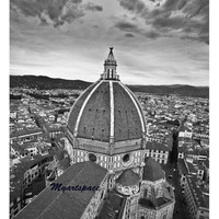 The Duomo of Florence, Travel to Italy, Black & White, Italian, European emblematic cityscape, romantic Florence architecture