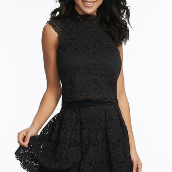 Pleated Floral Lace Overlay Mini Skirt