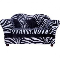 Fantasy Furniture Homey Sofa in Zebra Stripe, Medium, Color:White