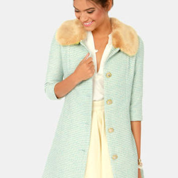 Jackie Oh So Lovely Fur Trimmed Blue Coat