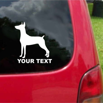 German Pinscher Dog Sticker Decal with custom text 20 Colors To Choose From.