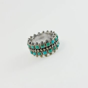 Turquoise Stone Ring - Navajo Artisan Sterling Ring Size 4.75 - Native American Turquoise Ring