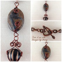 Wire wrapped Copper Brown Bronzite Gemstone Black Handmade Necklace