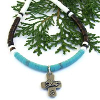 Horse and Heart Cross Handmade Necklace, Turquoise Shell Petroglyph Southwest Artisan Jewelry
