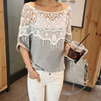 Lace Casual Top Summer Cotton Top
