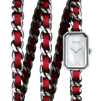 CHANEL PREMIÈRE Triple-Row Red Leather Chain Watch