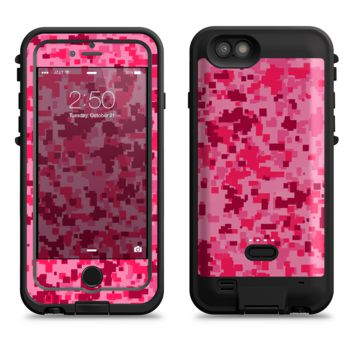 The Hot Pink Digital Camouflage  iPhone 6/6s Plus LifeProof Fre POWER Case Skin Kit