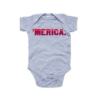 Patriotic Fourth of July Independence Day Baby Cute Short Sleeve Merica Bodysuit [8833436620]