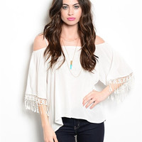 Western Day Top in White