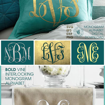 Vine Interlocking Monogram Alphabet (SVG, eps, DXF, PNG) - Cut Files for Silhouette, Cricuit, other major electronic cutting machines cv-076
