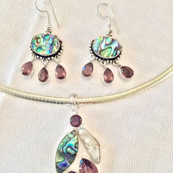 Abalone and amethyst sterling silver pendant and earrings set